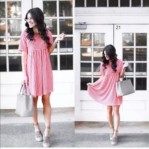 Red & white checkered dress